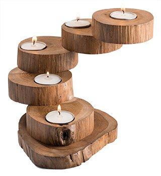 FAIR TRADE Handmade Light Teak Root Wooden 5 Tier Tealight