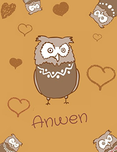 Anwen name owl themed notebook, sketchbook or blank book journal. Unique owl personalised notepad. cute owl journals. Welsh names ()