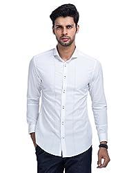 Mr Button The Boardroom Czar Cotton Shirts For Men, Long Sleeve, Cut Away Collar, 100% Premium Mercerised Cotton Fabric, Latest Modern Fashion, Branded Stylish (Brilliant White)