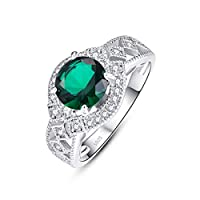 TOWNMISS 925 Sterling Silver Rings for Women Cubic Zirconia Simulated Emerald Green Cocktail Ring Push for Her