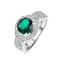 TOWNMISS 925 خواتم من الفضة الاسترليني للنساء مكعب زركونيا مقلد الزمرد الأخضر كوكتيل الدائري بوش لها