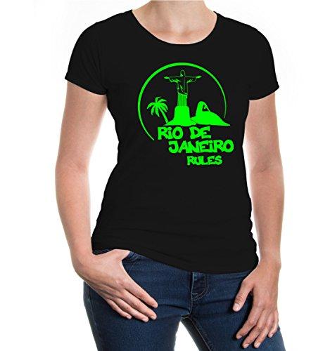 buXsbaum® Girlie T-Shirt Rio de Janeiro Rules Silhouette Black-Neongreen