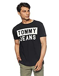 Tommy Hilfiger Mens Printed Regular Fit T-Shirt (P8ATK218_Tommy Black_Medium)