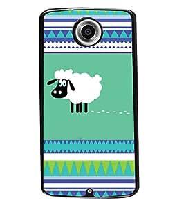 PRINTVISA Sheep Premium Metallic Insert Back Case Cover for Motorola Nexus 6 - D6082