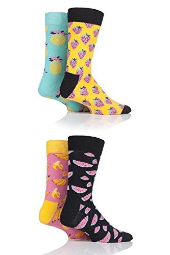 Happy Socks Hommes et Femme XPOP09 Fruit Conception Chaussettes dans une boîte-cadeau Paquet de 4 Happy Socks