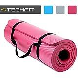 TechFit Colchón para Yoga y Fitness, Espesor Extra de 15 mm, 180 x 60 cm, Ideal para Ejercicios en el Suelo, Gimnasia, Camping, Estiramientos, Abdómenes, Pilates (Púrpura)