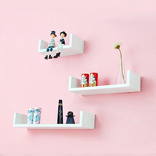 White Decorative Wooden Wall Shelves 3 Pcs Set