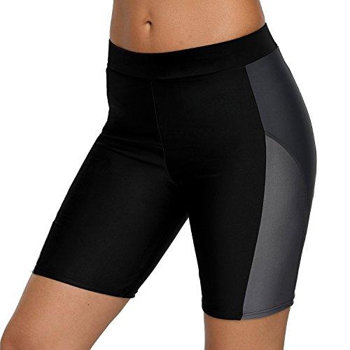 attraco Frauen-Badehose, für Sport Schwimmen Surfen Strand, Shorts, Männerstil Gr. XXL, schwarz / grau
