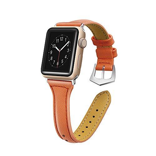 Gimartuk Echtleder Bands für Apple Watch Band 38mm 42mm Slim Ersatz Armband Gurt für iWatch Nike + Serie 3/2/1, Sport & Edition, 11Farben, Orange, 38 mm -