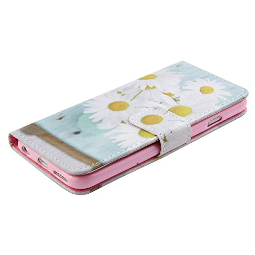 iPhone 6 4.7 Custodia in pelle, iPhone 6S Flip Cover, Felfy Elegante Luxury Blu Mare Design Portafoglio Flip Folio Pelle PU Leather Book Wallet Libro Cuoio Chiusura Magnetica Protettiva Stand Custodi Chrysanthemum