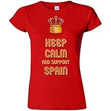Ladies Camiseta Para Mujer T-Shirt KEEP CALM & Support SPAIN Football Patriotic Espana