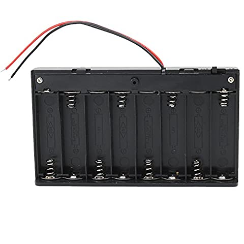 KEESIN AA 12V Battery Holder Case Plastic Battery Storage Box with ON / OFF Switch and Fastening Cable Ties (8 Solts*2