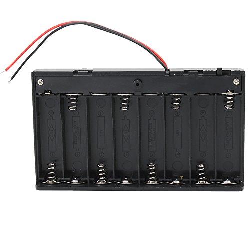 KEESIN AA 12V Batteriehalter Fall Kunststoff Akku Aufbewahrungsbox mit EIN / AUS Schalter und Befestigung Kabelbinder (8 Solts * 2 Stück) (Akku-pack-große)