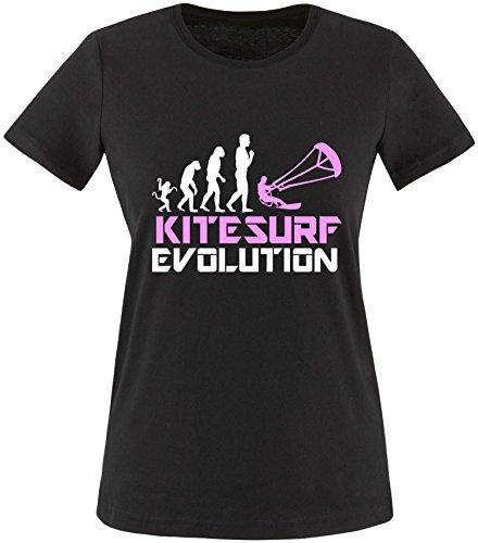 EZYshirt® Kitesurf Evolution Damen Rundhals T-Shirt Schwarz/Weiss/Rosa