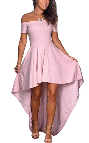 Angashion Damen Sommerkelid Kurze Ärmel Cocktailkleid Schulterfrei High Low Kleid Partykleider Rose M - Rose Kleid