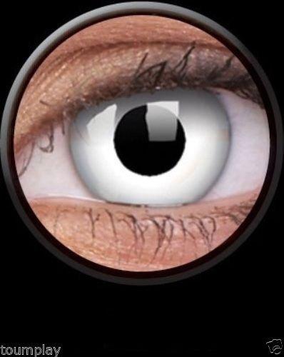 Tageslinsen One Day WHITE WITCH Kontaktlinsen weiss dämon vampire halloween kostüme