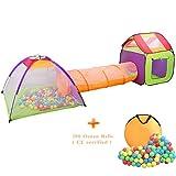 Wellhome Faltbare Pop Up Kinderspielzelt mit Tunnel Spielzelt mit Tasche und 200...
