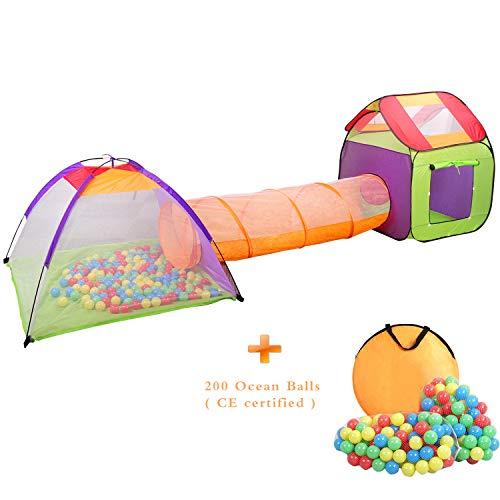 p Up Kinderspielzelt mit Tunnel Spielzelt mit Tasche und 200 Bälle Indoor und Outdoor für Jungen Mädchen und Babys ()