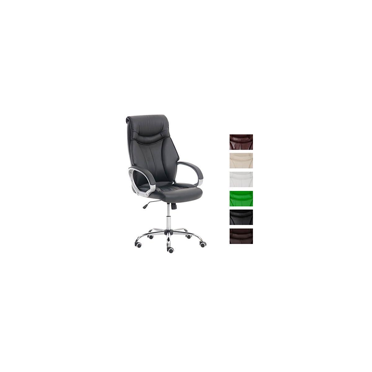 415 e6mlktL. SS1200  - CLP Silla de Oficina Torro en Cuero Sintético I Silla de Ordenador Regulable en Altura | Silla de Esctritorio con Ruedas | Color: