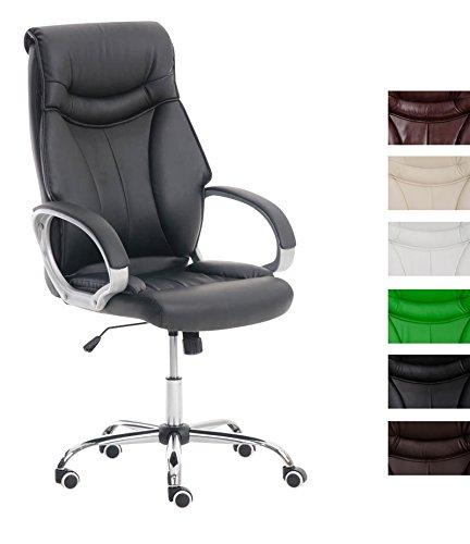 CLP Silla de Oficina Torro en Cuero Sintético I Silla de Ordenador Regulable en Altura | Silla de Esctritorio con Ruedas | Color: