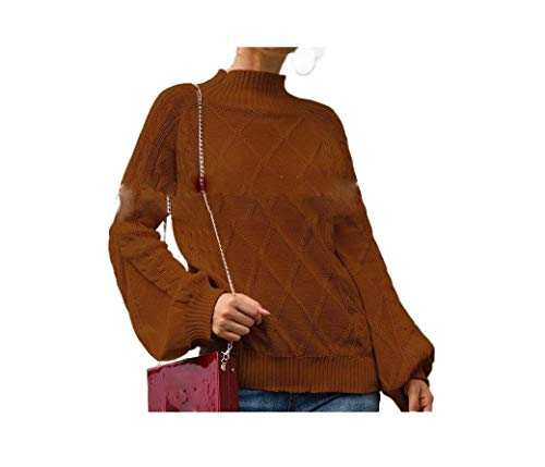 CuteRose Womens Semi-high Collar Knit Fall Winter Puff Sleeve Blouse T-Shirt Coffee L -