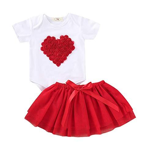 Valentinstag Kleinkind Sweet Prinzessin Kleider Baby Kurzarm Herzförmige Rose Strampler + Tutu Rock Outfit - Herzförmiger Kurzarm-pullover