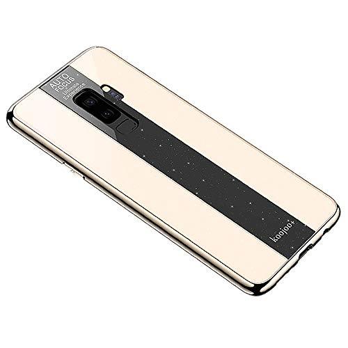 Miagon Überzug Hülle für Galaxy S9 Plus,Glänzend Glitzer Überzug Plating Rahmen Ultra Dünn Hart PC Handyhülle Schutzhülle Tasche Weich Case Bumper für Samsung Galaxy S9 Plus,Gold