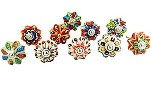 STREET CRAFT Dotted Mix Color Multi Designed Ceramic Cupboard Cabinet Door Knobs Drawer Pulls & Chrome Hardware - Hand Painted Pulls Set Of 10 by STREET CRAFT