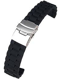Correa de silicona negra de 18mm, resistente al agua, para buceo, con cierre desplegable para reloj de pulsera
