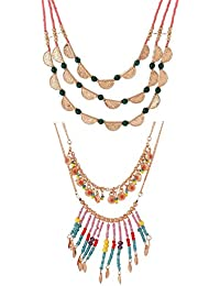 Valentine Gifts: Voylla Combo Of Layered Statement Necklaces For Women, Girlfriend & Wife