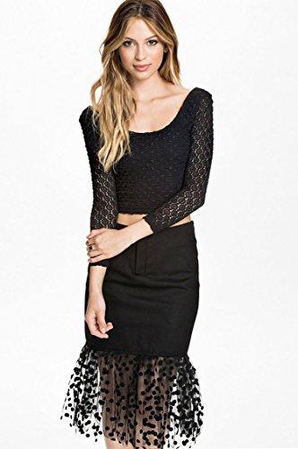 kingfield Fashion femmes Lot de 2à volants et Bretelle Polka Dot Jupe en dentelle à manches longues robe Noir - Noir