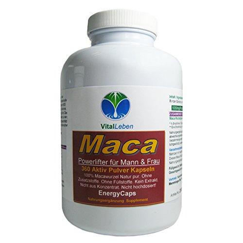MACA Root Power Lifter Energy Caps für Vitalität & Libido Mann & Frau 360 Wurzel Pulver Kapseln #25091   100% Natur pur (Peru)   Premium Qualität....
