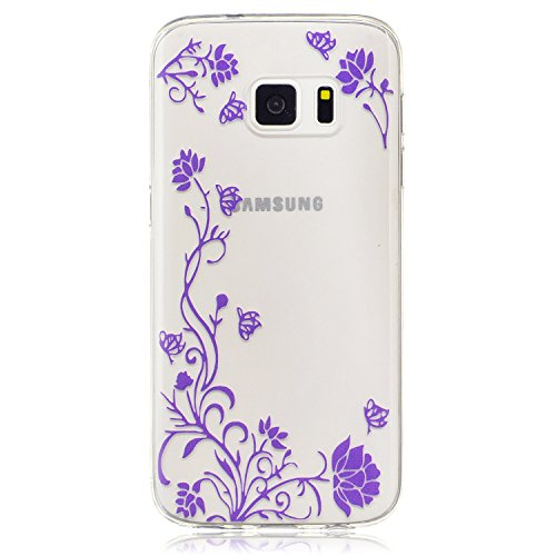 Samsung Galaxy S7 Hülle Case, Cozy Hut® [Flower Series] Ultra Dünn [Crystal Case] Transparent Soft-Flex Handyhülle / Bumper-Style Premium-TPU Silikon / Perfekte Passform / Kratzfest Schutzhülle für Samsung Galaxy S7 Case, Samsung Galaxy S7 Cover, Galaxy S7 Case, Galaxy S7 Cover, S7 Case, S7 Cover - Wisteria