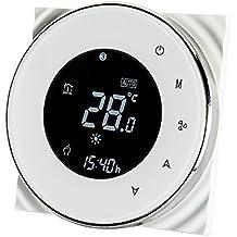 Decdeal - Termostato Programable para Aire Acondicionado Central Bobina Redonda del Ventilador, LCD Digital Pantalla