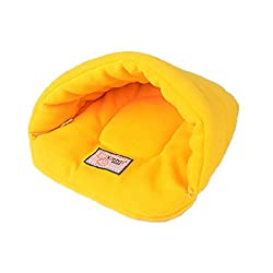 ELECTROPRIME Cat Pets Dogs Soft Comfortable Bed Nest Warm House Cushion Bag Sack Yellow L