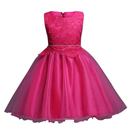 smileq Kleinkind Prinzessin Kleid Ärmellos Blumenmädchen Festzug Spitze Tutu Tüll Gewand Party Hochzeit Kleid, hot pink (Kleinkind Größe Gewand)