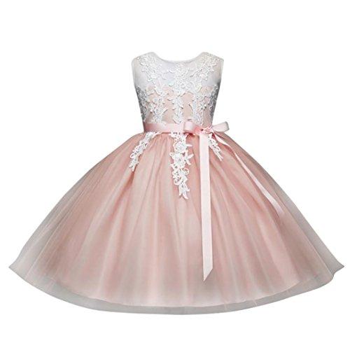 Solike Maedchen Prinzessin Kleid Blumenmaedchen Taft und Spitze Kleid Kinder Maedchen Kleid festlich Party Kleid Festzug Hochzeit (140CM, Rosa) (Festzug-kleid-festzug-kleid)