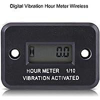 Qiilu Medidor digital de hora de vibración inalámbrico para Máquina Vibrante Motorcycle ATV Marine [Negro]