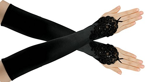 FEIBAO Damen 1920 Satin Handschuhe Vintage Gatsby Flapper Zubehör 22 Zoll Opern Ellenbogen Handschuhe (Kleid Langes Satin)