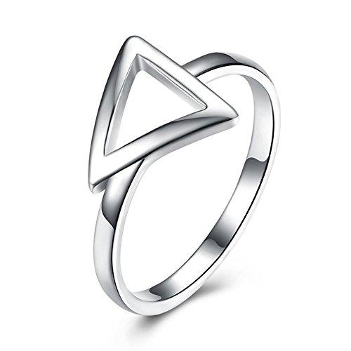 Gnzoe Schmuck Versilbert Damen Ringe Dreieck Klassisch Verlobungsringe Band Silber Gr.57 (18.1)