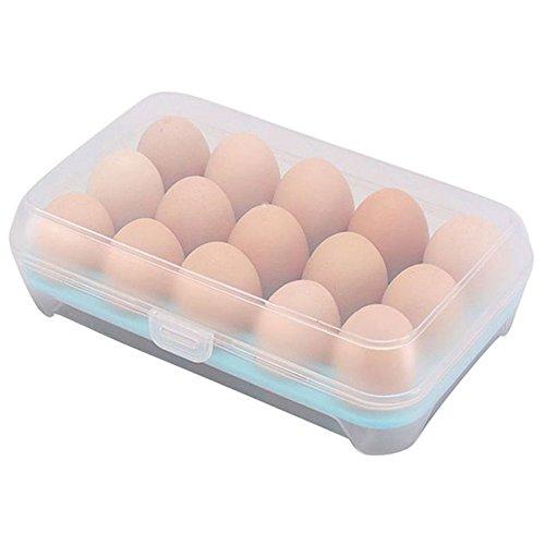 Ei Halter Box, mmrm Durable Kunststoff 15Zellen Eier Aufbewahrungsbox Container Kühlschrank Bezug, blau