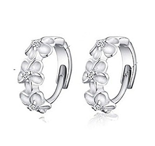 Plata ley 925 mujer Numeis flores aretes pendientes
