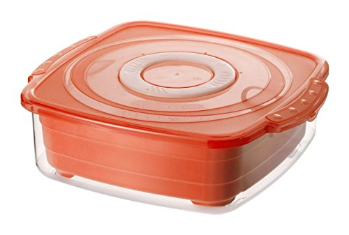 Rotho Clever Dampfgarer für die Mikrowelle, Kunststoff (BPA-frei), rot / transparent, 2 Liter ( 23,5 x 21 x 7,5 cm)