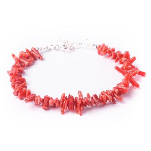 81stgeneration Neu Sterling Silber .925 echte rote Koralle Chip-Armband - Kleine Rote Koralle