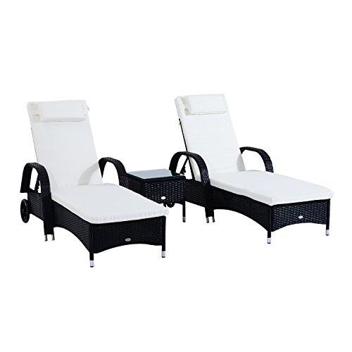 Outsunny set mobili da giardino 2 sedie a sdraio e tavolino 3pz lettino prendisole rotelle reclinabile rattan nero
