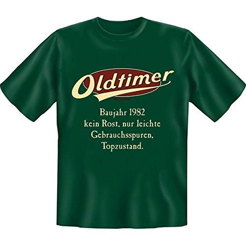 Geburtstags Set T-Shirt + Mini für die Flasche <->              Oldtimer Baujahr 1982              <->               ein kleines lustiges Geschenk Goodman Design®Dunkelgrün Dunkelgrün