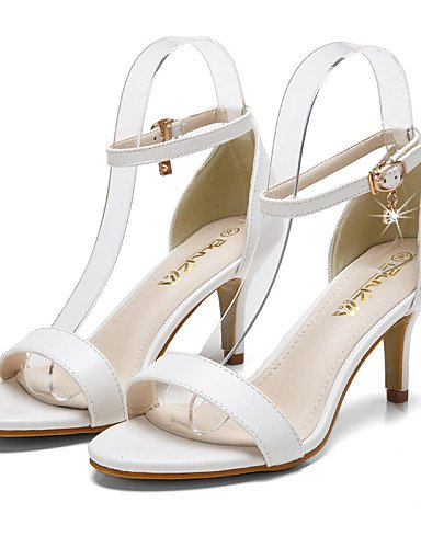 LFNLYX Scarpe Donna-Sandali-Formale-Tacchi / A punta / Aperta-A stiletto-Finta pelle-Nero / Bianco / Tessuto almond Almond