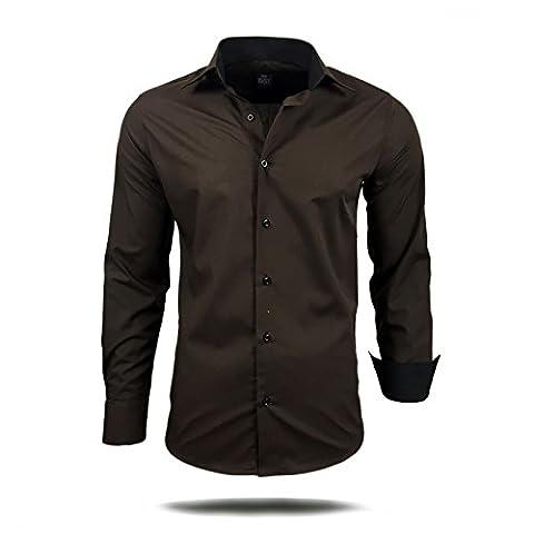 Herren Hemd Hemden Business Hochzeit Freizeit Slim Fit S M L XL XXL 44, Farbe:Braun, Größe:4XL