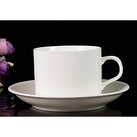 BeiBeiLove in porcellana, Tazza da tè e piattino per Italia Tazzina da caffè con piattino e cucchiaio, in porcellana, 7 oz bianco