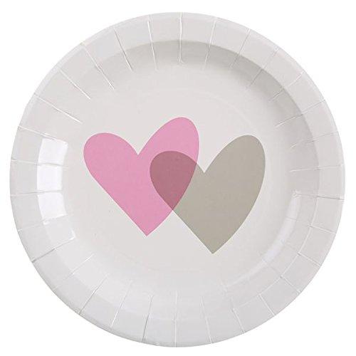 5 Schicke Weiße Papp-Teller mit einem Rosa & Grauen Herz - perfekt für Hochzeiten & Valentinstag (Grau Und Rosa Papier-platten)